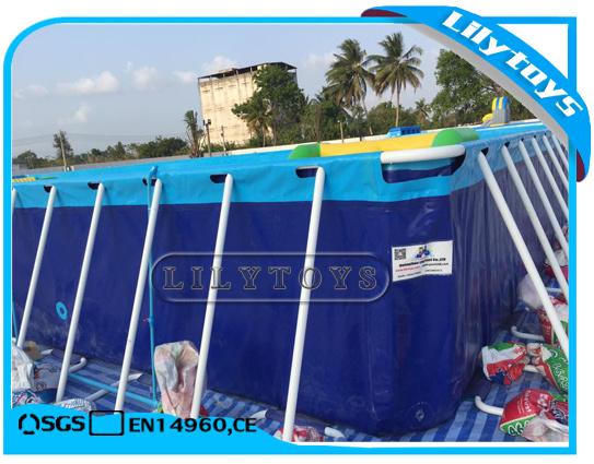 China PVC Above Ground Steel Swimming Pool Rectangular Metal Frame ...