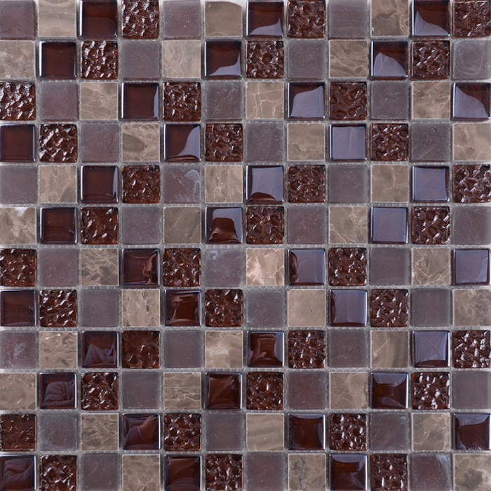 China France Style Colour Mixture Rustic Stone Glass Mosaic Floor