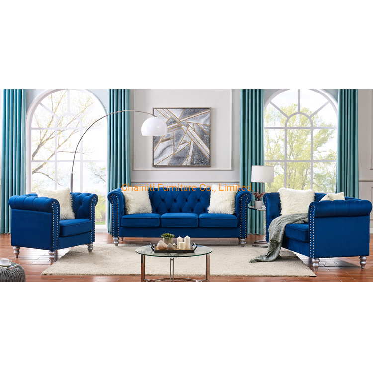 China Low Price Sofa Set Modern Living Room Button Tufted Blue Fabric Classic Chesterfield Sofa China Button Tufted Sofa Velvet Chesterfield Sofa