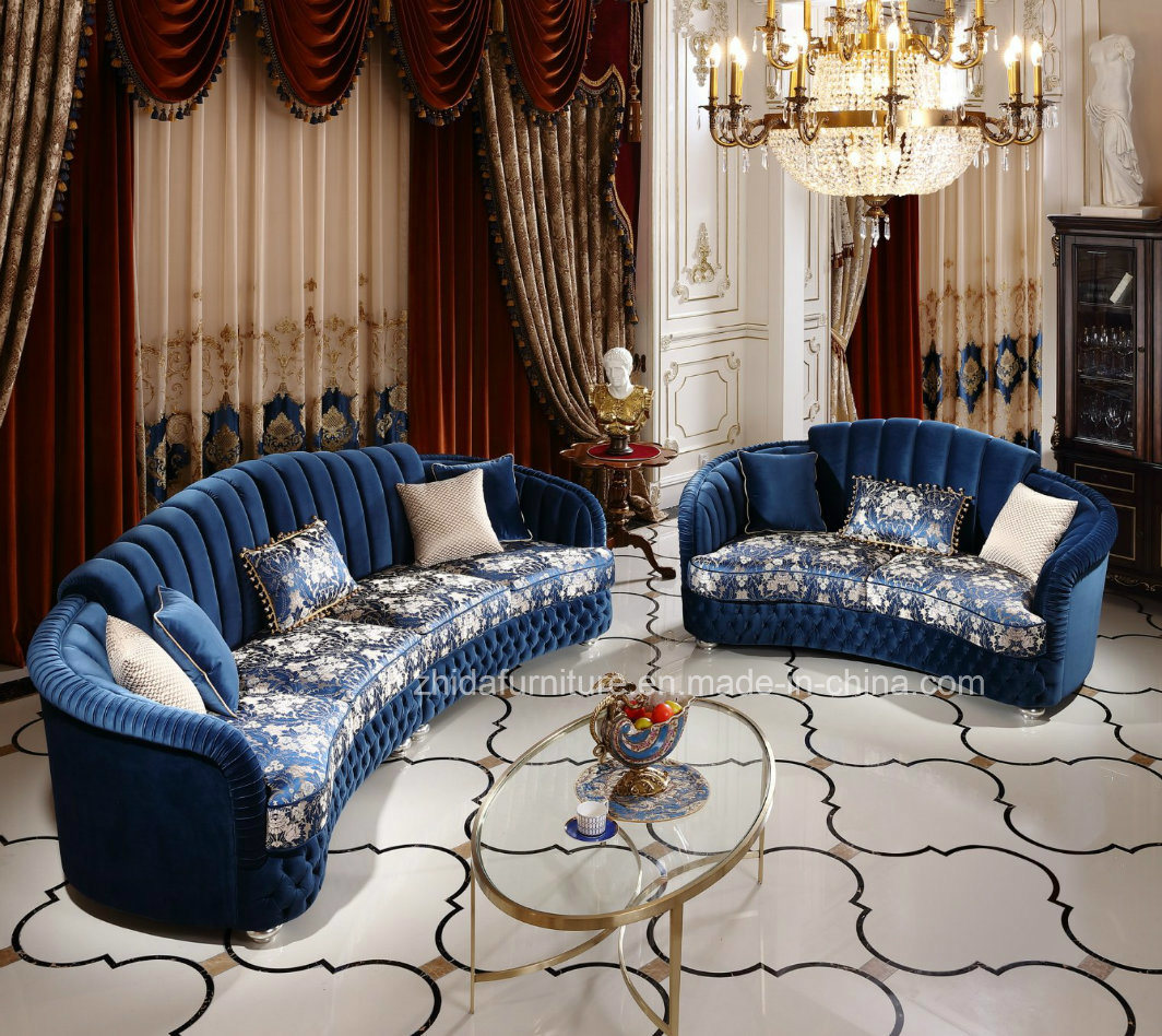 [Hot Item] Chinese Classical Home Furniture Living Room Reception Fabric  Sofa Set