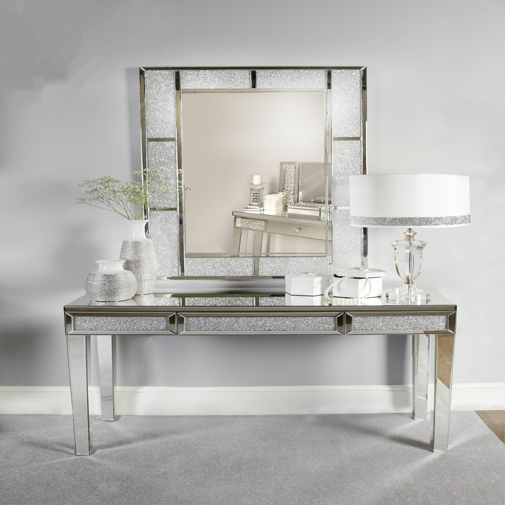 Hot Item Vanity Design Black Wood Glass Mirrored Console Table With Caved Shape