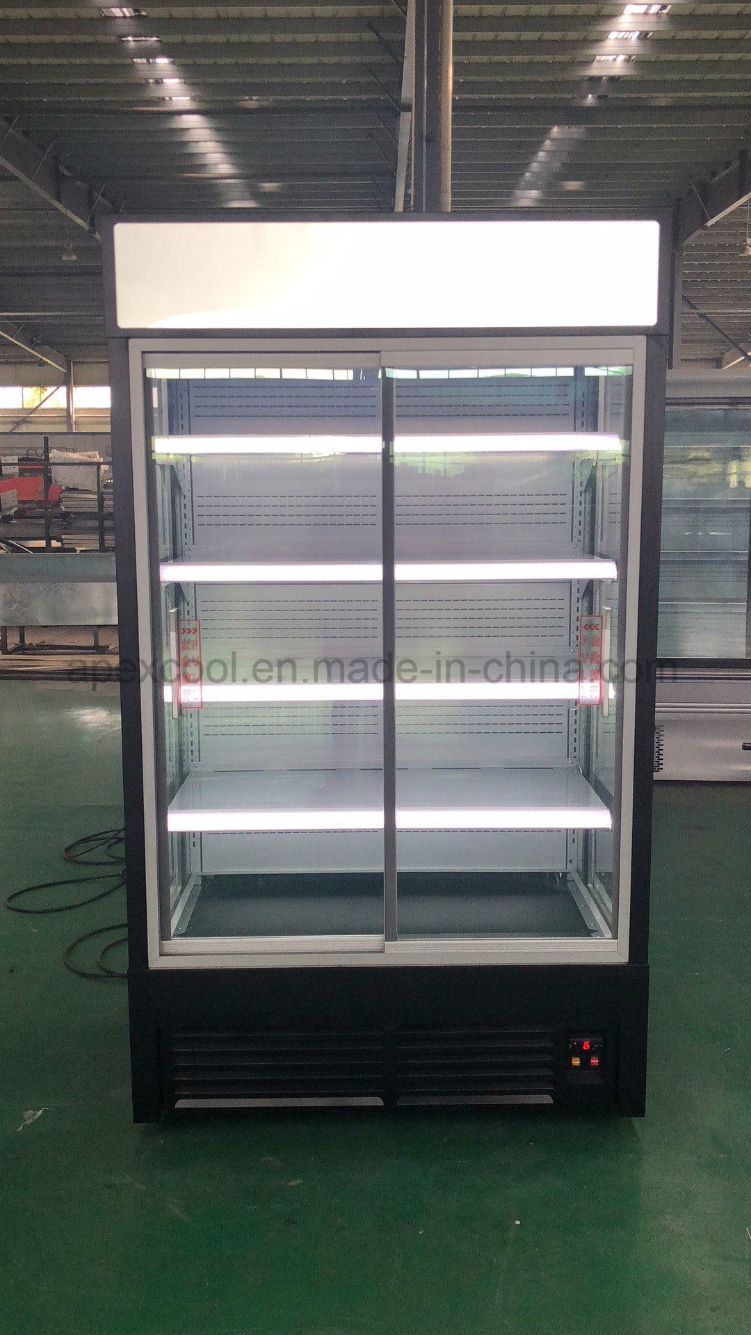 China Commercial Supermarket Glass Door Display Refrigerator Open
