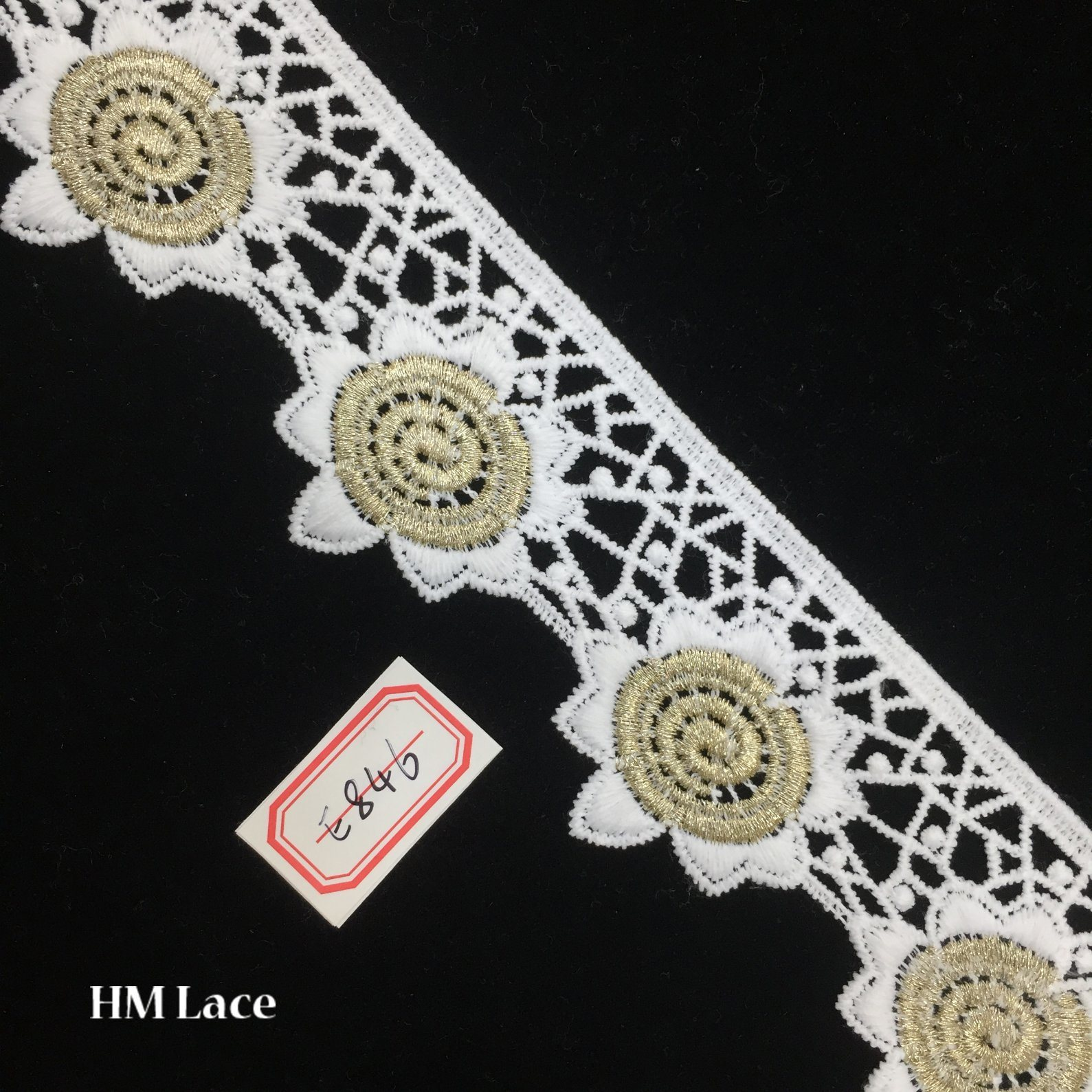 5.5cm Light Gold Embroidery Lace Bridal Wedding Dress Appliques Patches Hme846