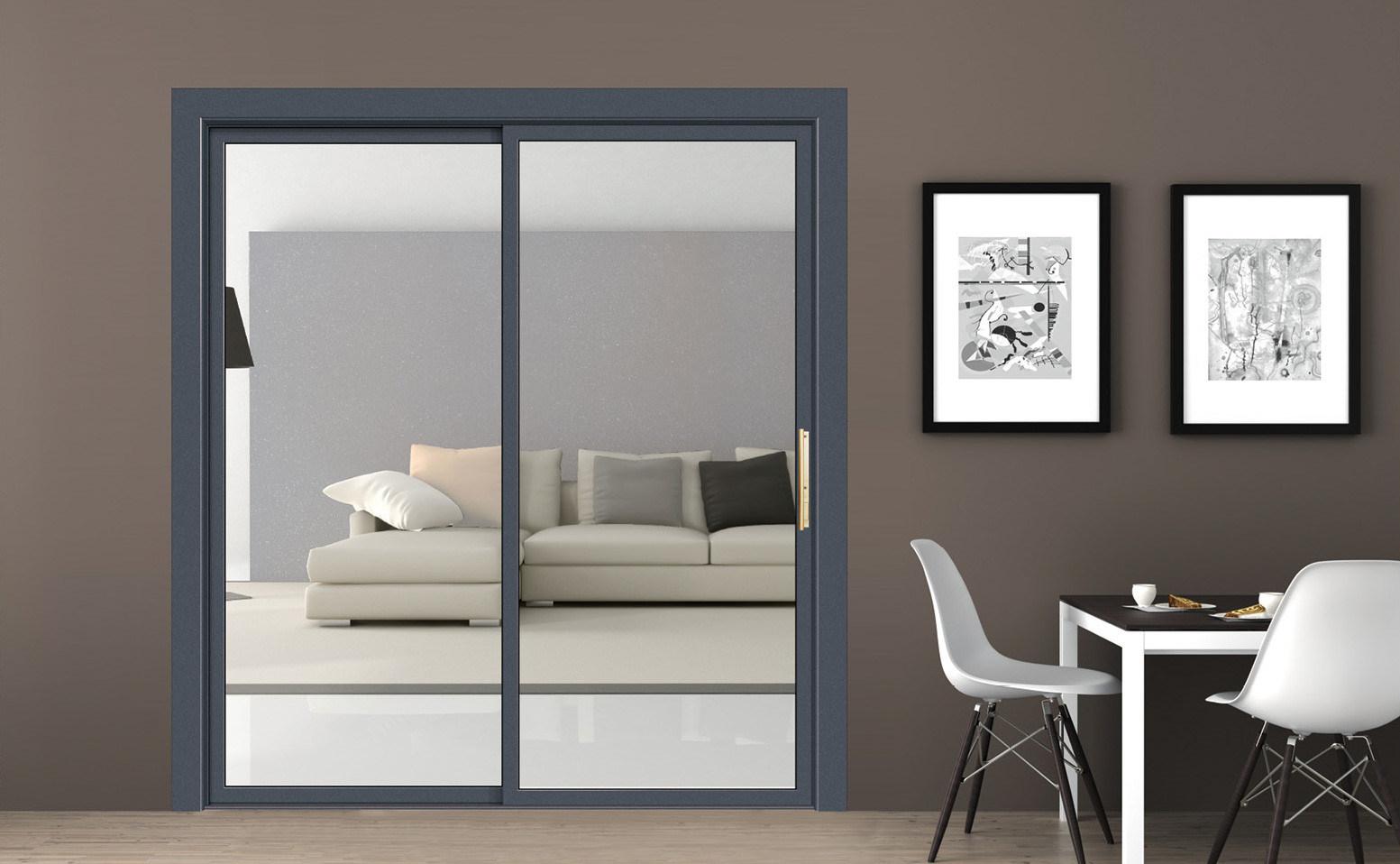 China Soundproof Internal Simple Black Aluminum Sliding Doors For Bedroom China Aluminium Sliding Door Security Door