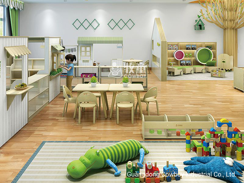 [Hot Item] Cowboy Wooden School Chairs and Desk Modern Daycare Furniture in  One Set