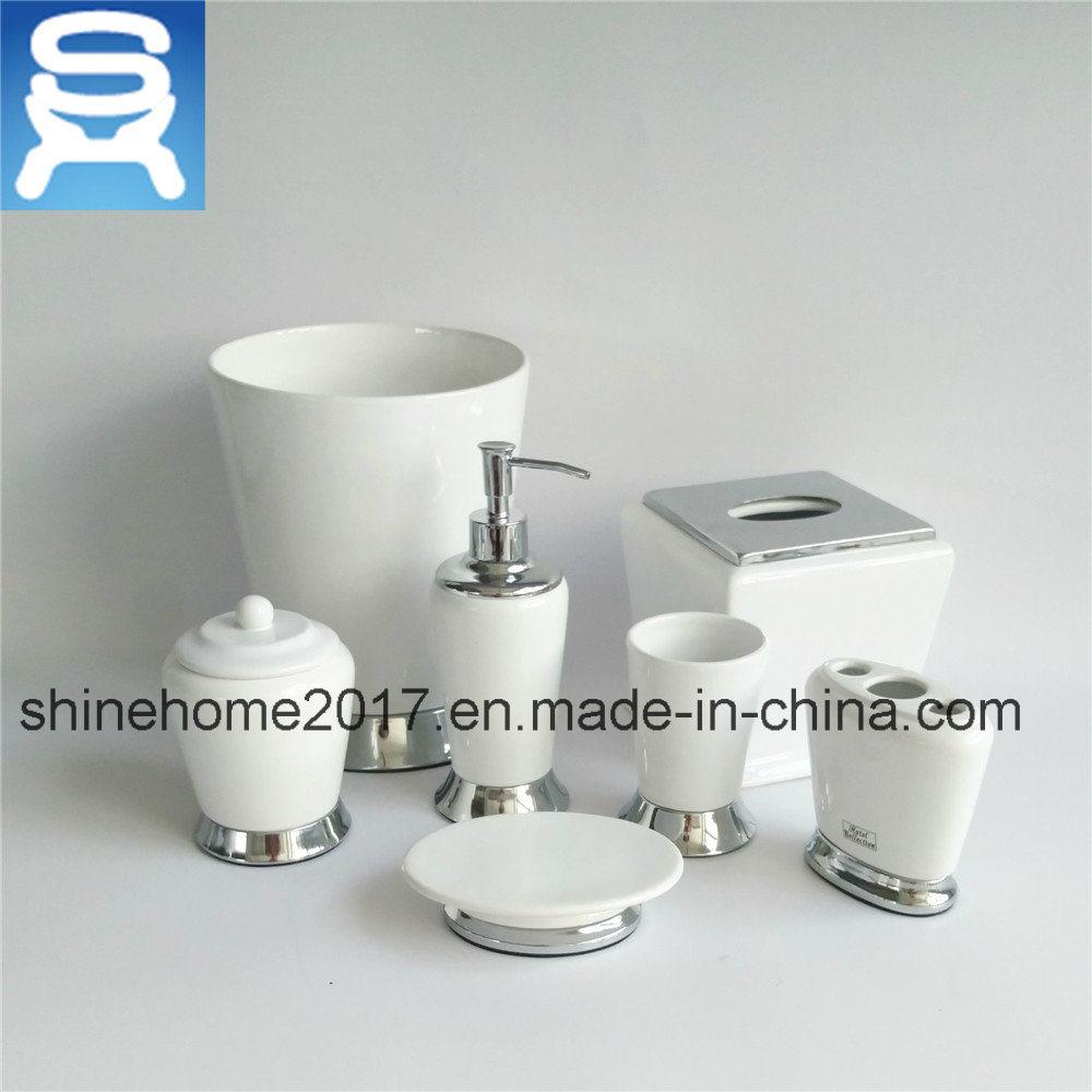 China Hotel Bath White Porcelain and Chrome Metal Finished Bathroom ...