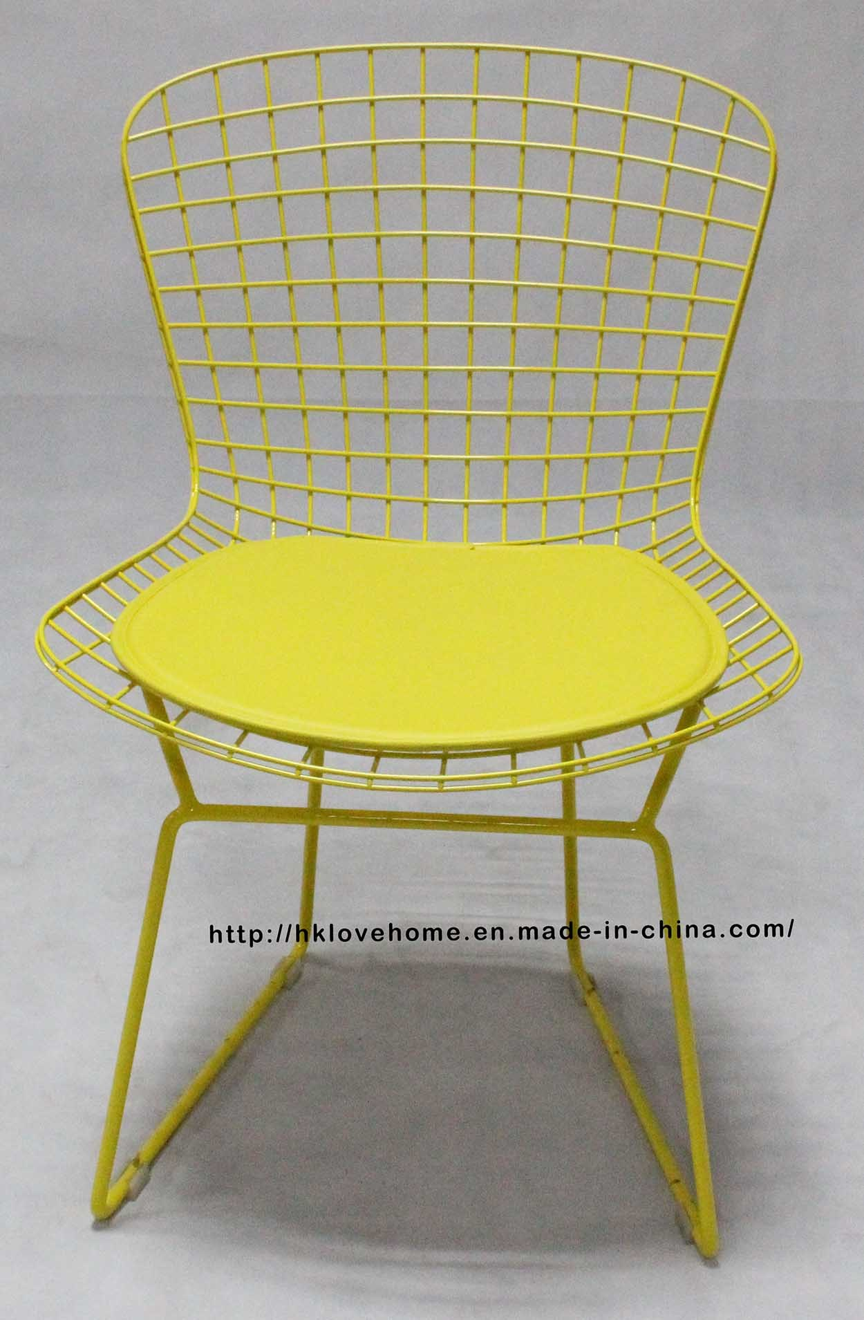 China Dining Restaurant Furniture Kd Metal Bertoia Pu Cushion Yellow Wire Chair China Wire Chair Steel Chair