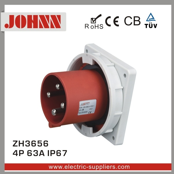 China Ip67 4p 63a Panel Mounted Plug For Industrial With Ce