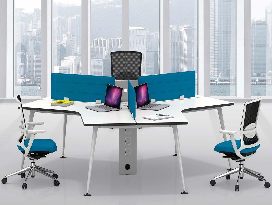 [Hot Item] 3 Person Office Desk Curve Partition Workstation Panel System  New Model Partition Office Workstation (FECN30)