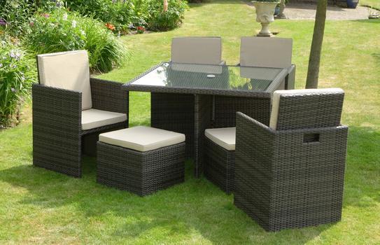 China 9 Piece Rattan Cube Set, Grey Rattan Garden Furniture Cube Sets