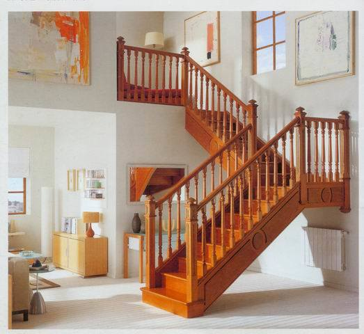 China Complete Solid Wood L Shape Staircase Sh8008