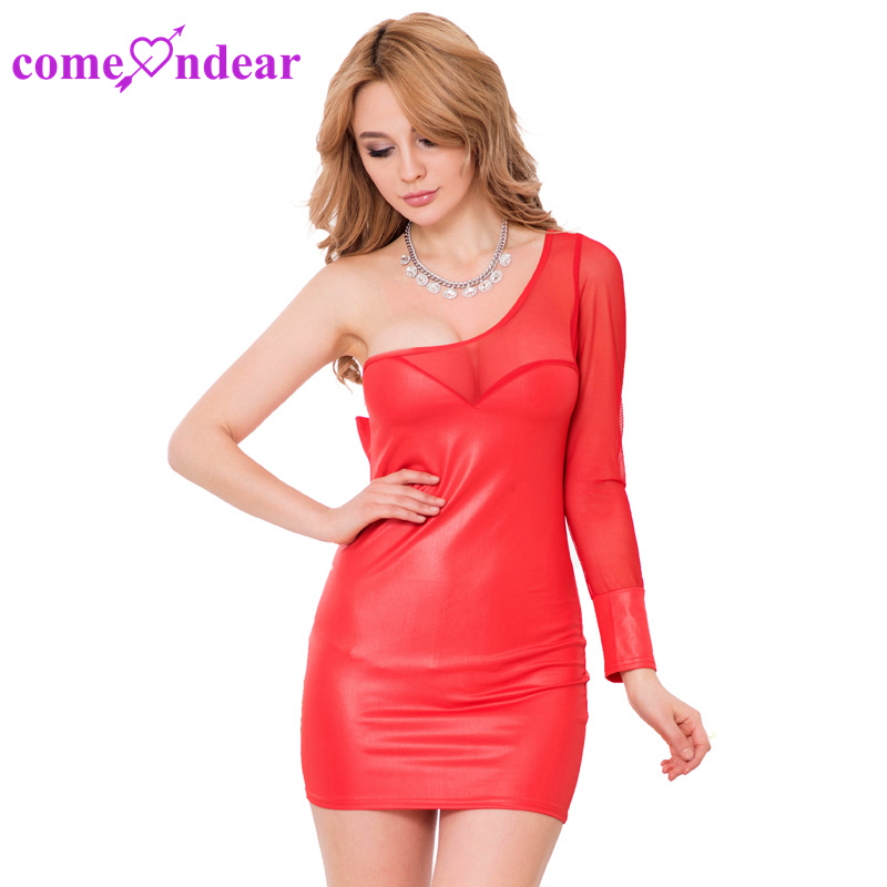 Paypal Accept Red Leather off Shoulder Bodycon Dress pictures & photos