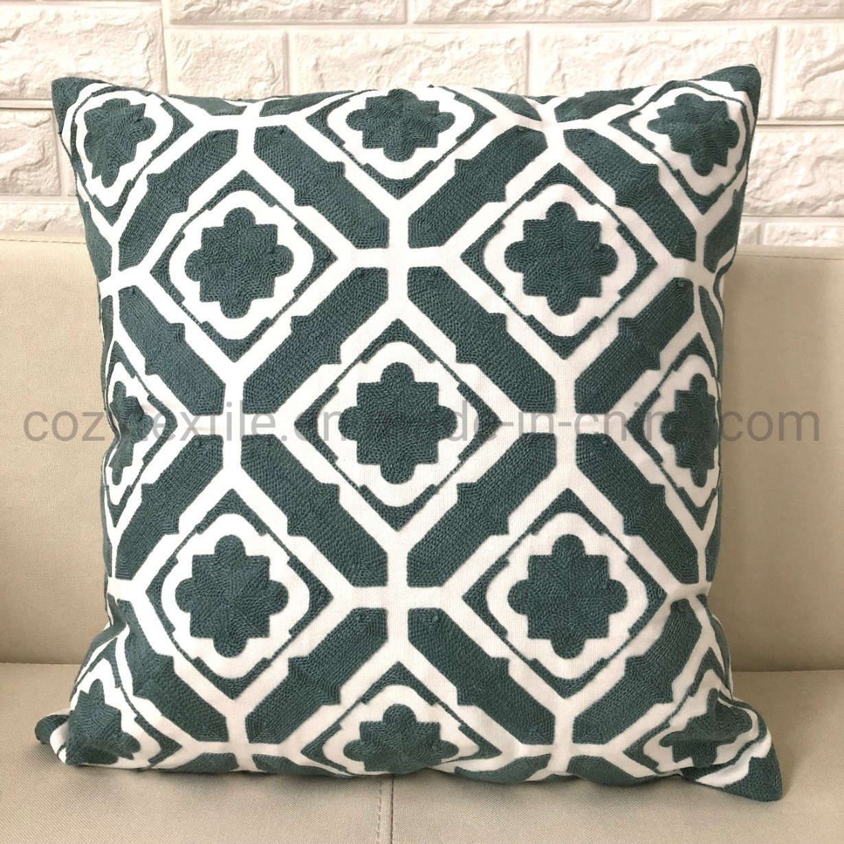 China 100 Cotton White Geometric Embroidery Throw Pillow Covers W O Filling China Pillow Case 45x45cm And Cushion Cover For Sofa Price