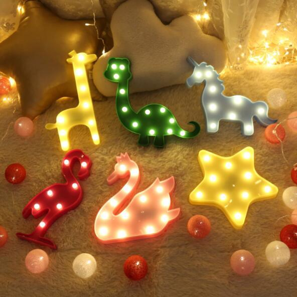 Hot Item 3d Led Flamingo Night Light Marquee Sign Star Cactus Christmas Tree Wall Lamp