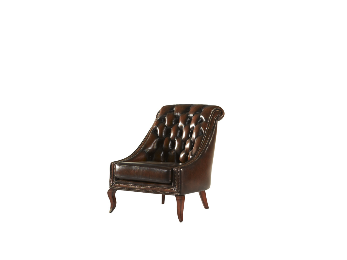 Buttoned Back Leather Chair Tufted Wooden Dining Chair in Modern Style with Ring Back