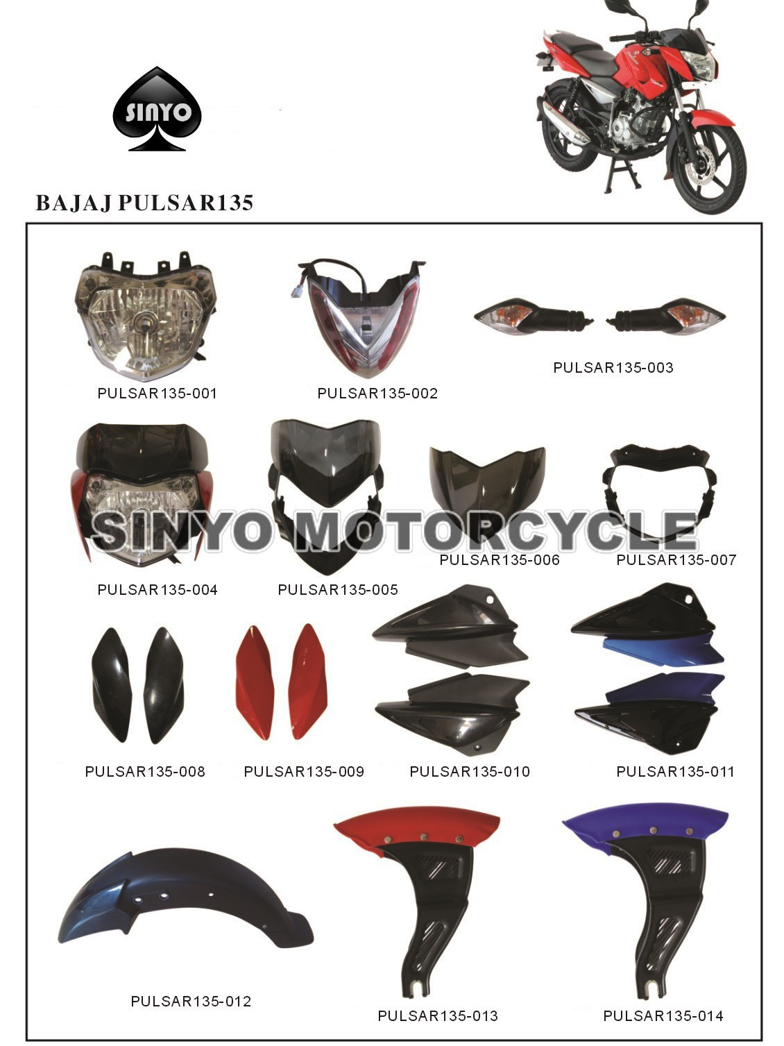 Wholesale Various Kinds Bajaj Pulsar Motorcycle Spare Parts