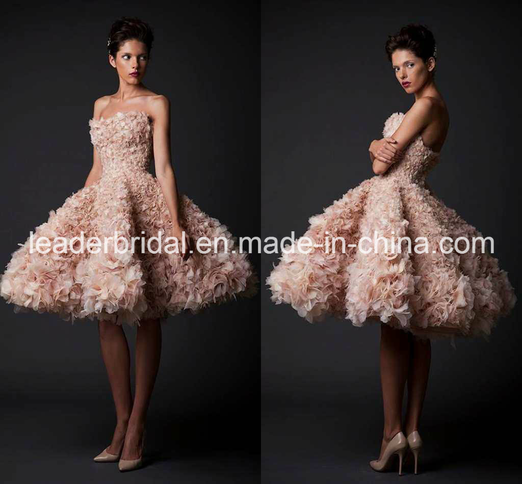 China Puffy Cocktail Dress Short Wedding Gown Pink Prom Dresses ...