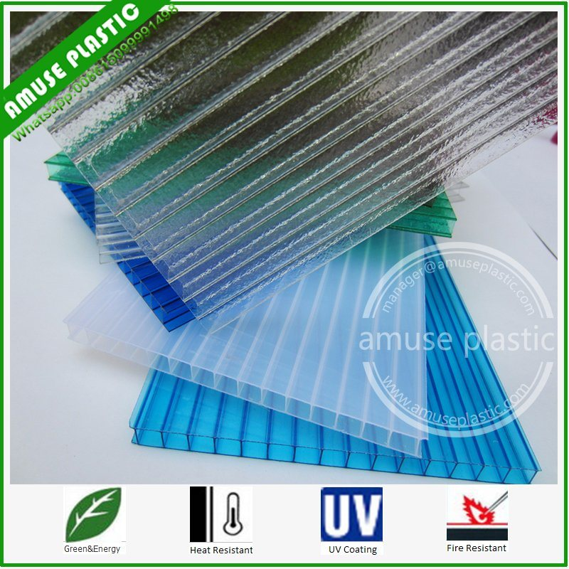 Lexan Polycarbonate Roofing Twin-Wall Hollow Sheet 10mm Polycarbonate Greenhouse Sheeting pictures & photos