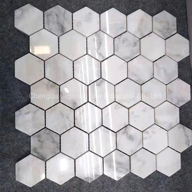 China Gigantic Star 2 Hexagon Blue Marble Mosaic Grigio Toscana 48mm Gray Marble Mosaic Tile China Marble Mosaic Stone Mosaic