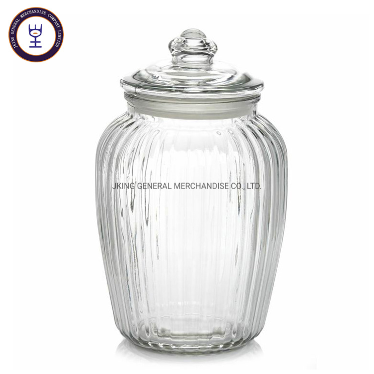 China Vertical Grain Design Decorative Glass Storage Jar For