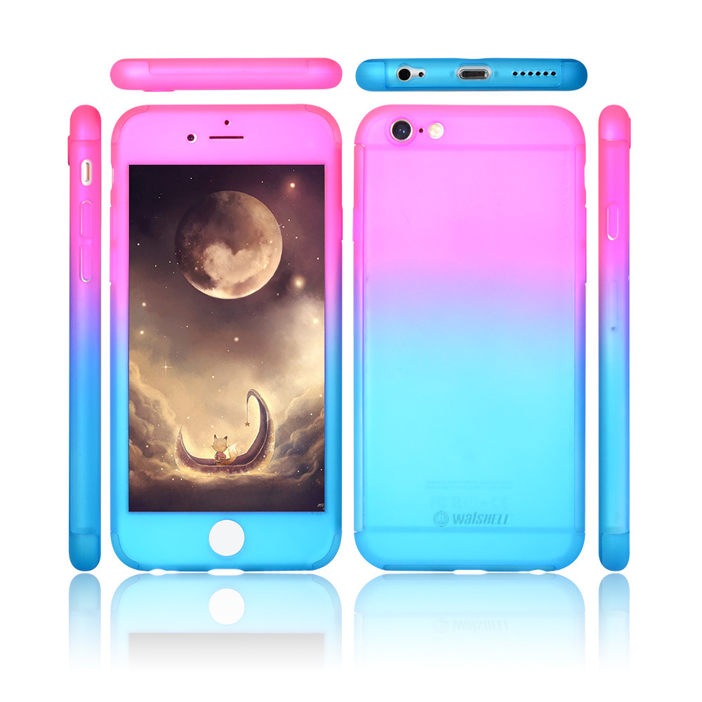 low priced 531ec 9c0bd [Hot Item] for iPhone 5 6 7 Se Mix Color Mobile Case 360 Degree Full Body  Cover PC Hard Slim Tempered Glass Protector Cases for iPhone 7 Plus