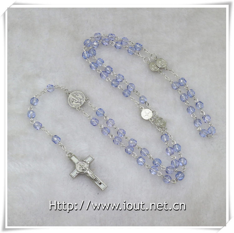 Hot Sale High Quality Rosary Beads Style Religious Chains Cross Necklace (IO-cr350)
