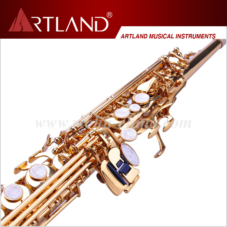 Bb Key Golden Lacquer Finish Professional Soprano Saxophone (ASS4506) pictures & photos