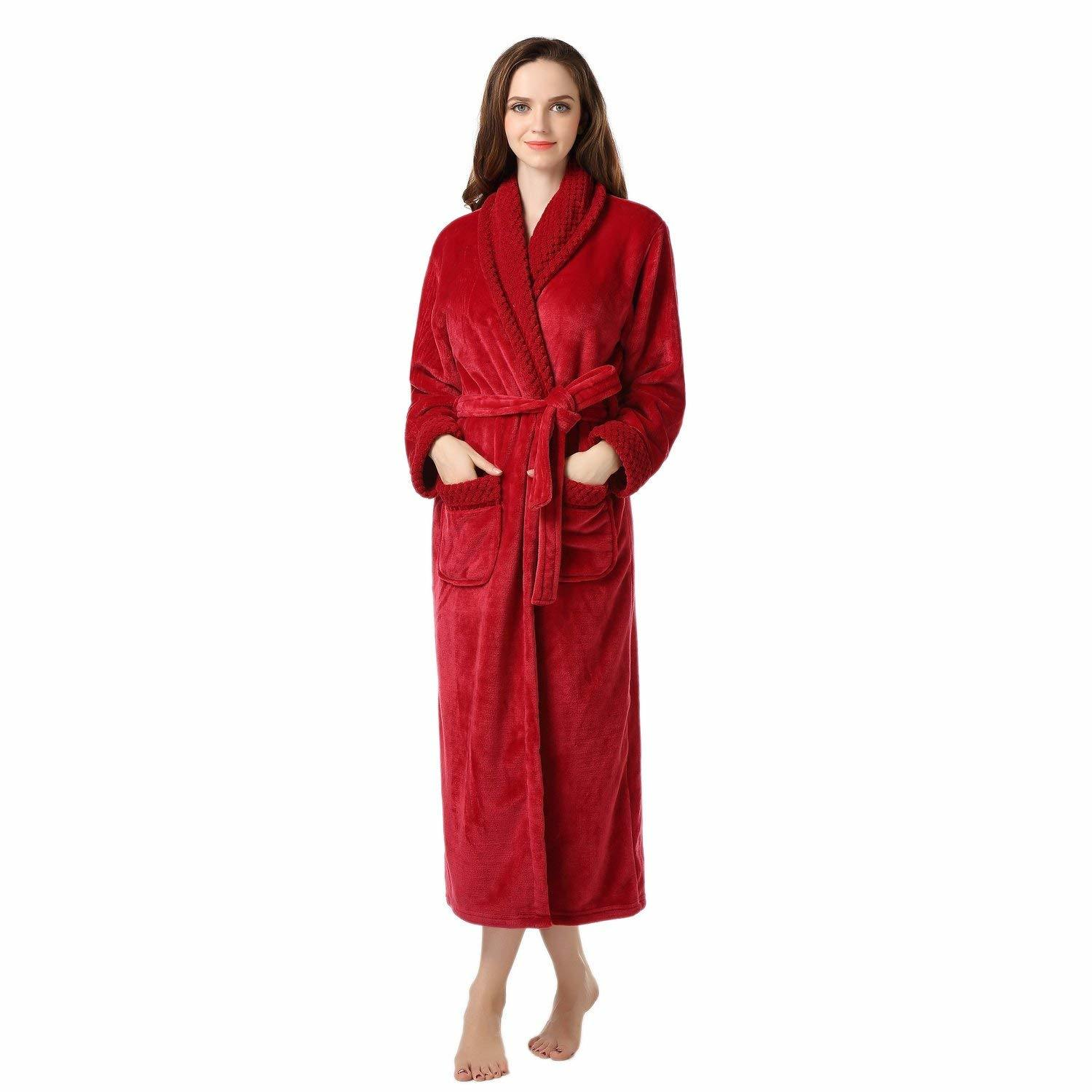 Womens Solid Color Homewear Fleece Plush Microfiber Bathrobe Robe pictures & photos