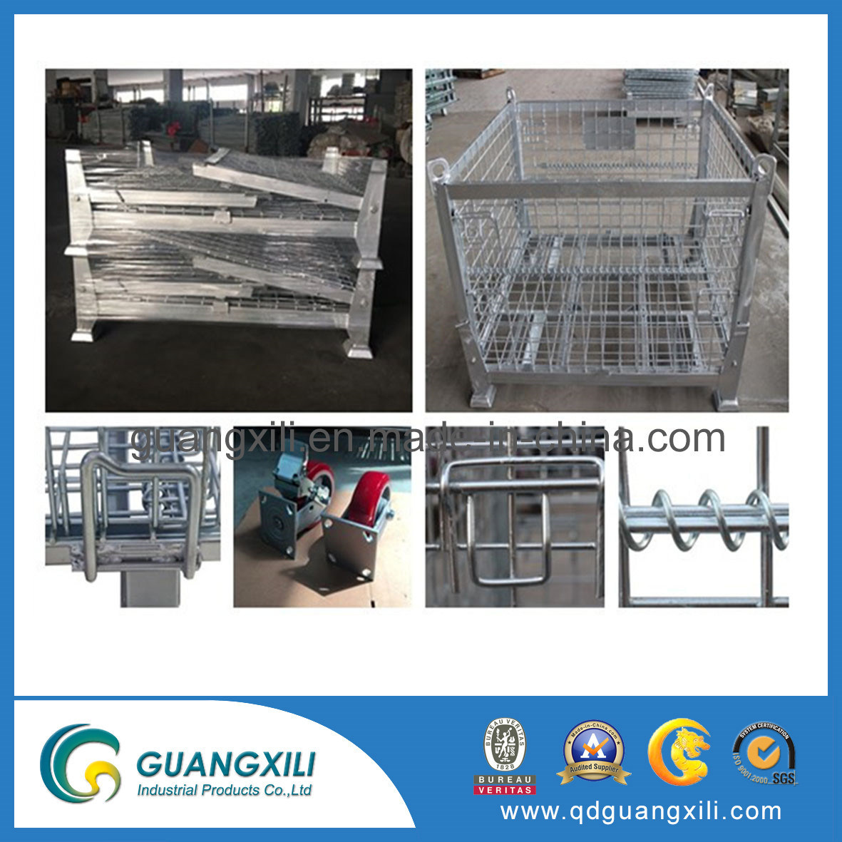 Heavy Duty Metal Storage Steel Material Foldable Wire Mesh Box pictures & photos