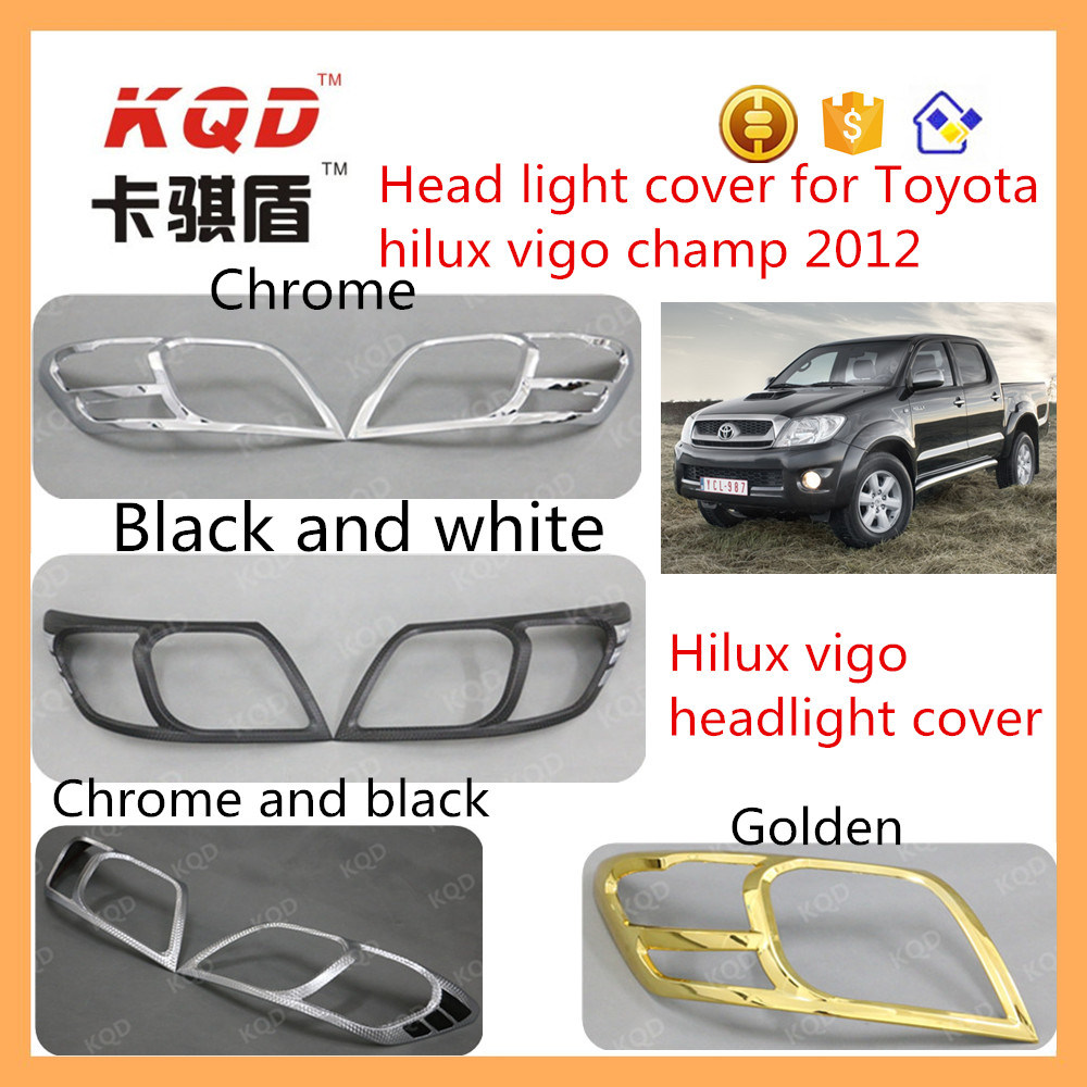 China For Toyota Hilux Vigo Spare Parts Head Lamp Cover Rear Bumper Step Stainless Mobilio Champ Car Chrome Accessories Headlight