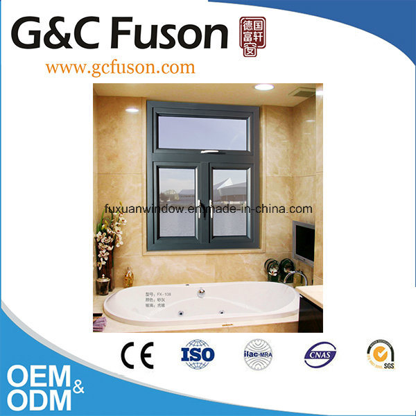 China French Style Aluminum Double Opening Window Tempered Glass