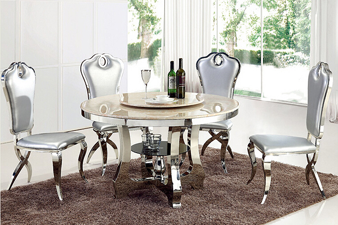 [Hot Item] Modern Dining Table Set Glass Round Dining Table with Rotating  Centre