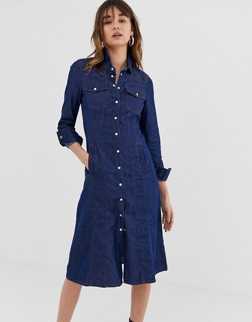 China Custom Women′s Dark Denim Shirt Dress - China Dresses and ...