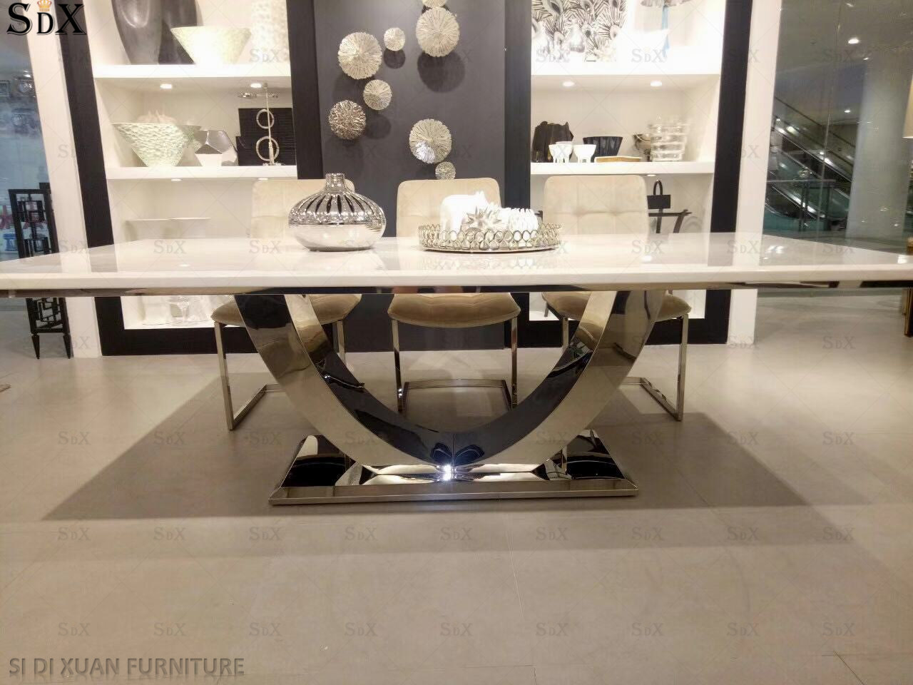 China Dining Room Furniture Marble Top Dining Table Set Modern ...
