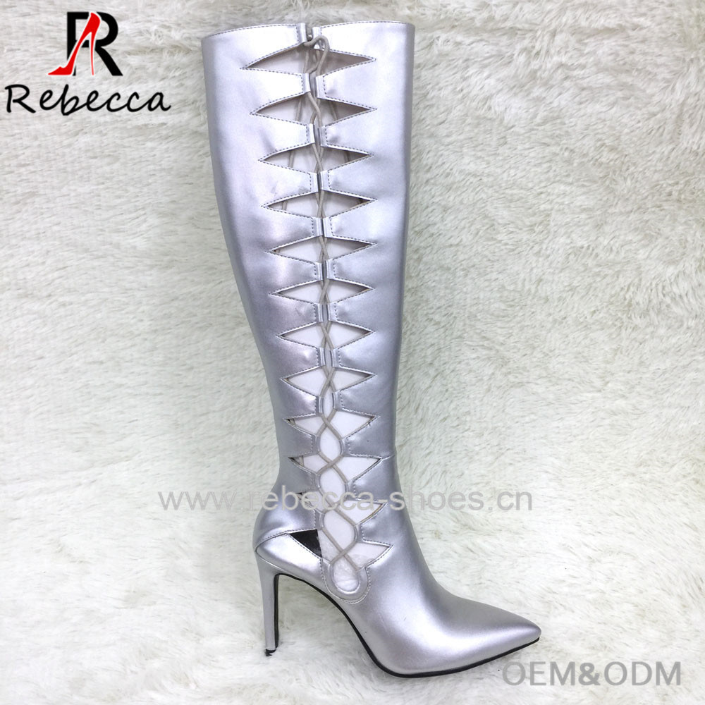 28c2c149a9b Stiletto Thigh High Long Knee Boots Fashion Hollow Breathable Lace-up  Strappy Upper Boots Sexy Ladies Street Boots