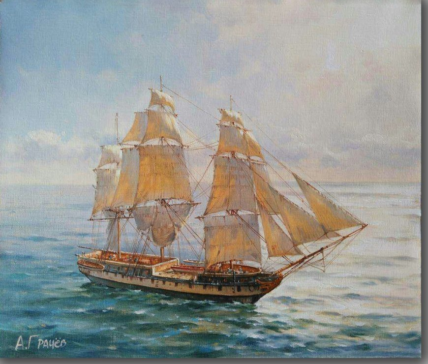 Sailboat Canvas Oil Painting for Wall Decoration