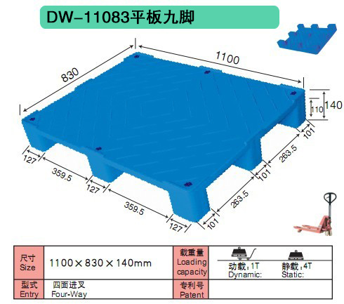 China 9 Feet HDPE Solid Deck Standard Plastic Pallet Size