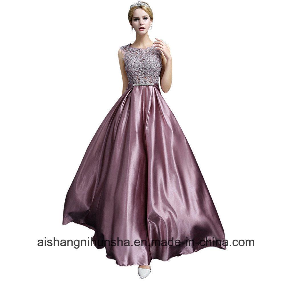 China Long Evening Dress Lace Satin Bridal Elegant Prom Dresses ...
