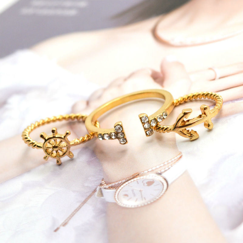 Gold Plated Anchor Rudder Ring Set Open Rings Fashion Jewelry pictures & photos