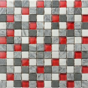 Red Gl Mixed Stone Mosaic Tiles Wall 8mm