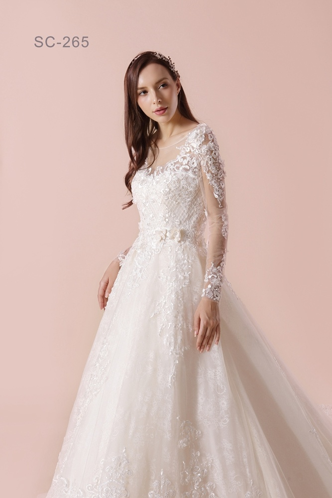 China Alibaba New Design Long Sleeves Lace Wedding Dress Patterns ...