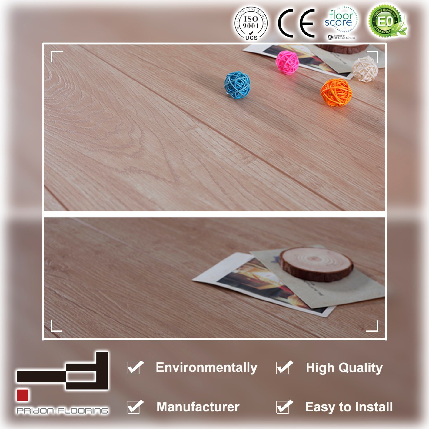China 12mm Oak Gold Eir Sparking Wax V Bevelled European Style Water Proof Laminate Floor Flooring