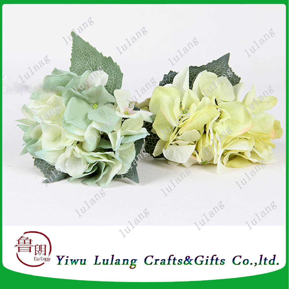 China 34cm Artificial Hydrangea Silk Flowers In Cream Green Color