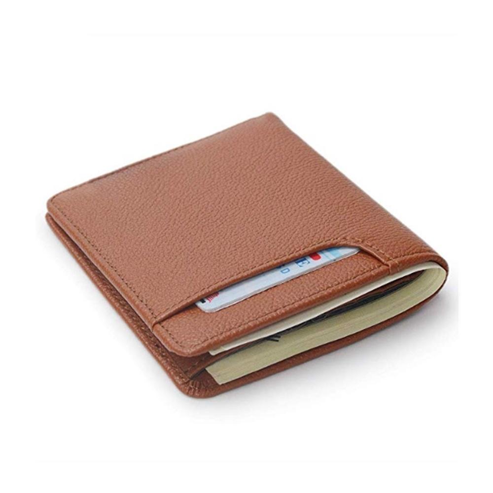 Small Size Brown Men Money Clip Wallet Logo