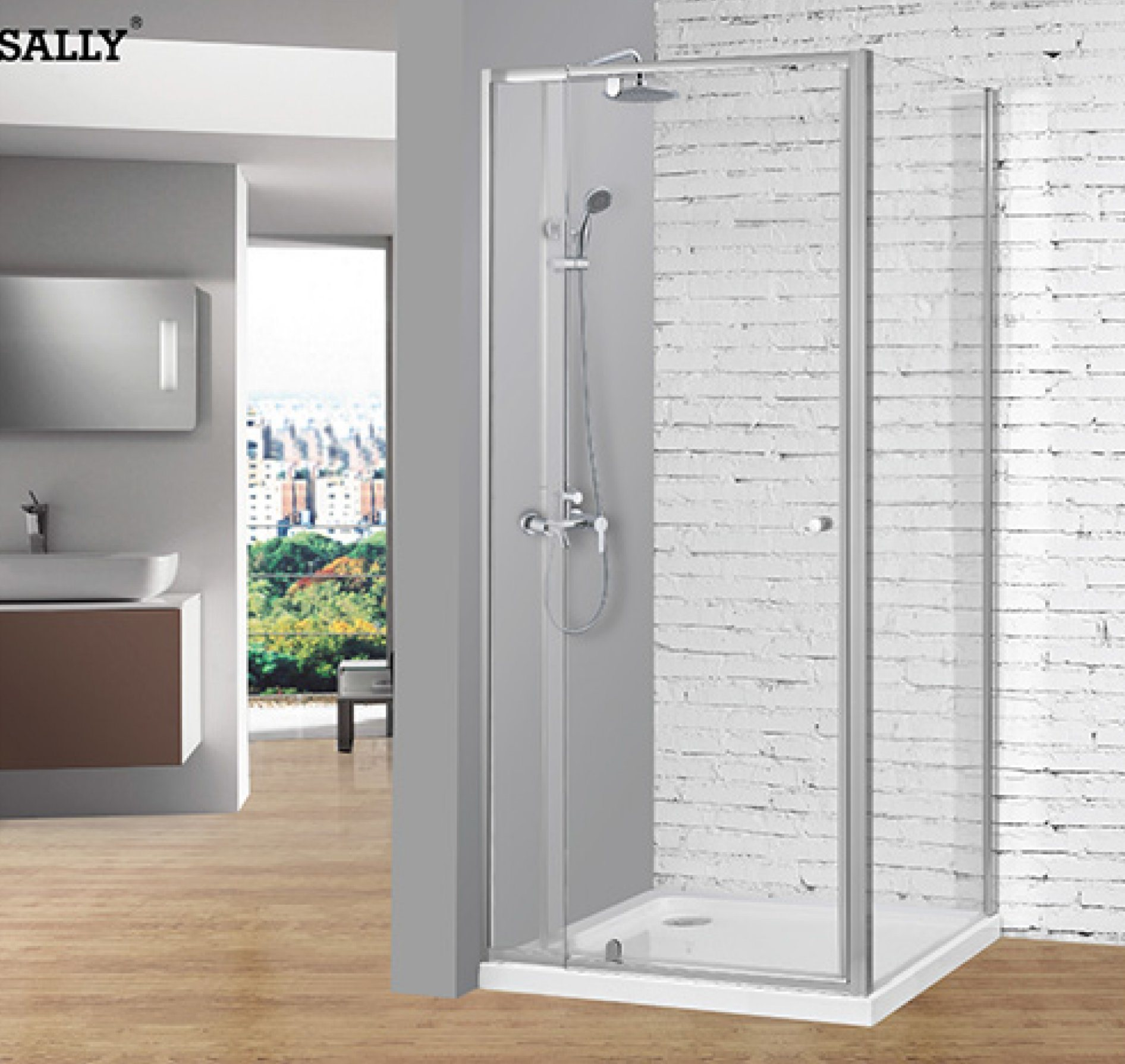 Hot Item Sally Telescopic Pivot Door Of 6mm Tempered Glass Hinge Shower Door With Big Adjustment