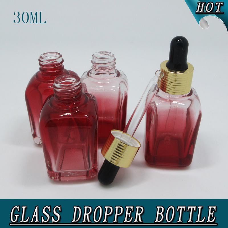 Hot Sale! 30ml Gradient Red Square Glass Dropper Bottle 1oz