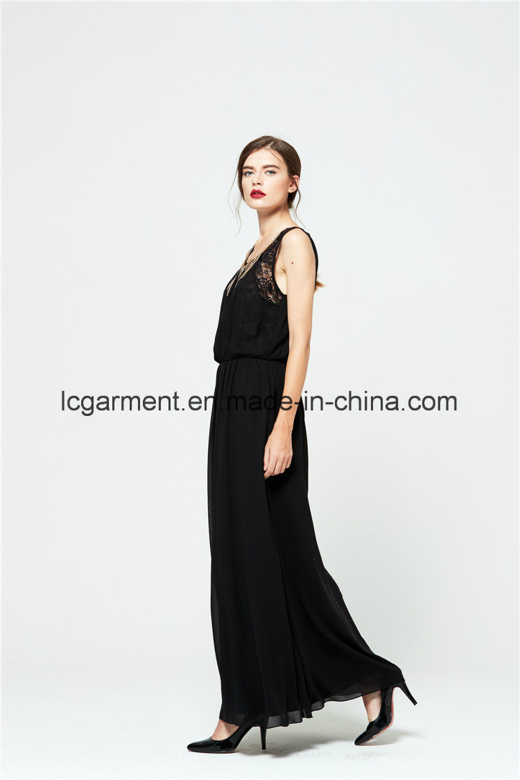 Hot Sale New Style Sweet Lace Chiffon Woman Dress Sleeveless with Metals