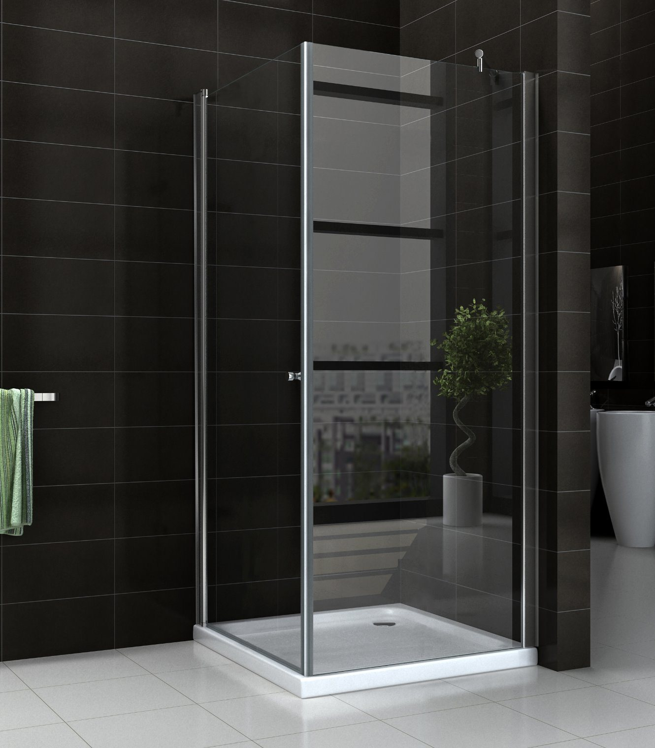China Bathroom 68mm Pivot Door Glass Shower Enclosure With Side