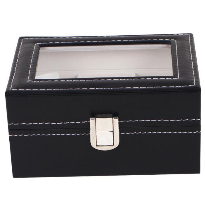 Spot Supply High Quality 3 Slots Pu Leather Black Watch Storage Box Whole Ready Stock Organizer Case Jewelry