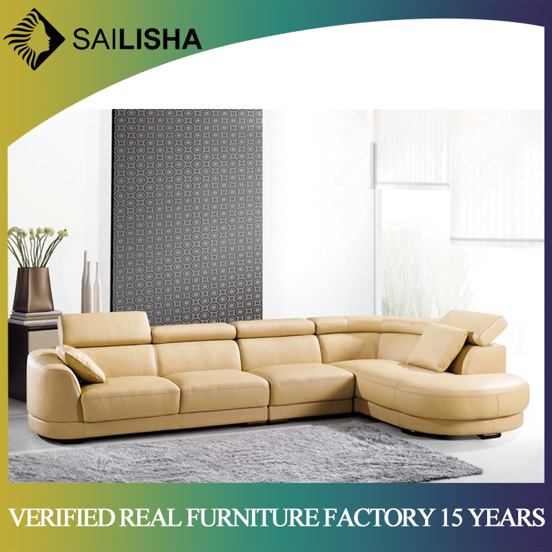 [Hot Item] Leather PU Modern Contemporary Style New Design Living Room  Furniture Set Corner Sofa